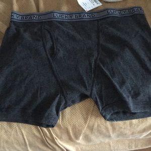 2 New Lucky  Brand XL Dark & lt.Grey Boxer Shorts